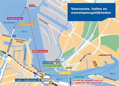 Mapa de los ferries de Ámsterdam