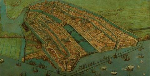 Gezicht op Amsterdam in vogelvlucht - 1538 - Cornelis Anthonisz